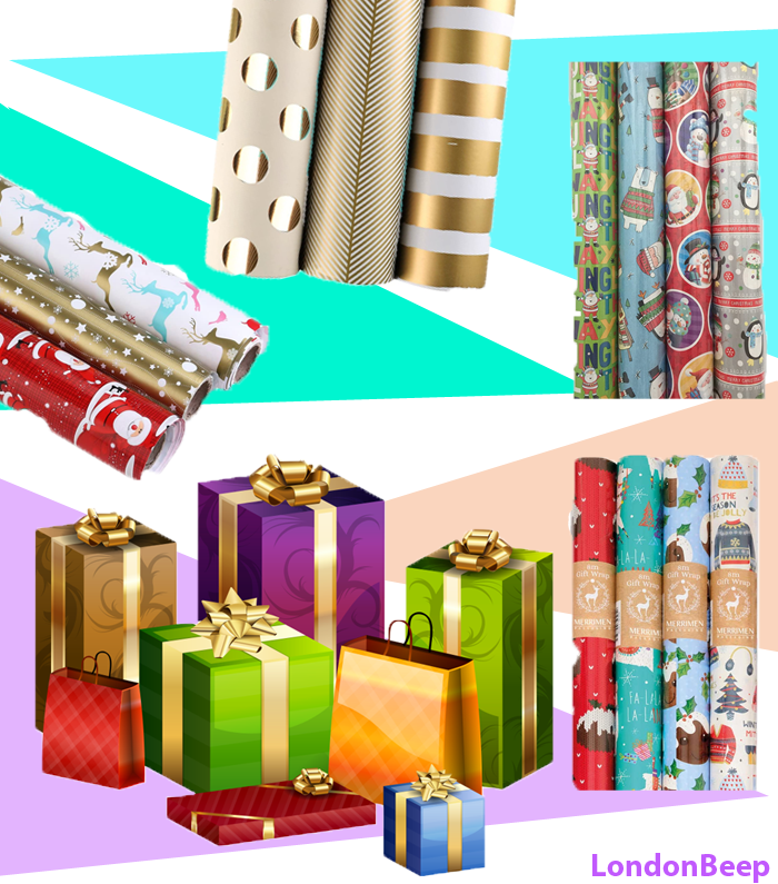 Christmas Wrapping Paper, Roll 2020 UK,Holiday Gift Wrap