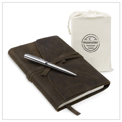 Refillable Leather Journal Gift Set- Valentine's Gifts Under £50 for friend 2020 UK
