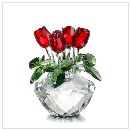 Crystal Glass Flowers - Valentine's day 2020 UK Roses for Couple