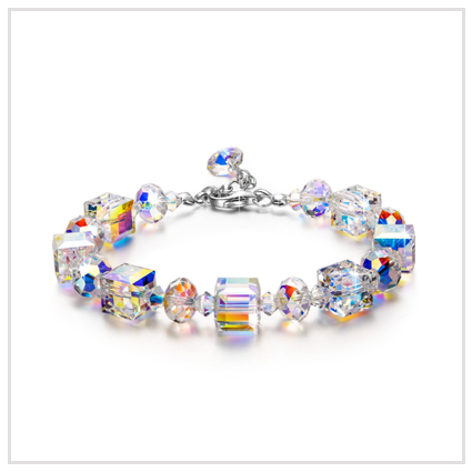 Aurora Borealis Crystal Bracelet - Valentine's Day Jewellery Gift for sister 2020 UK