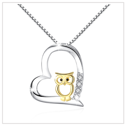 Owl Necklace Pendant - Valentine's Day Jewellery Gift for Women 2020 UK