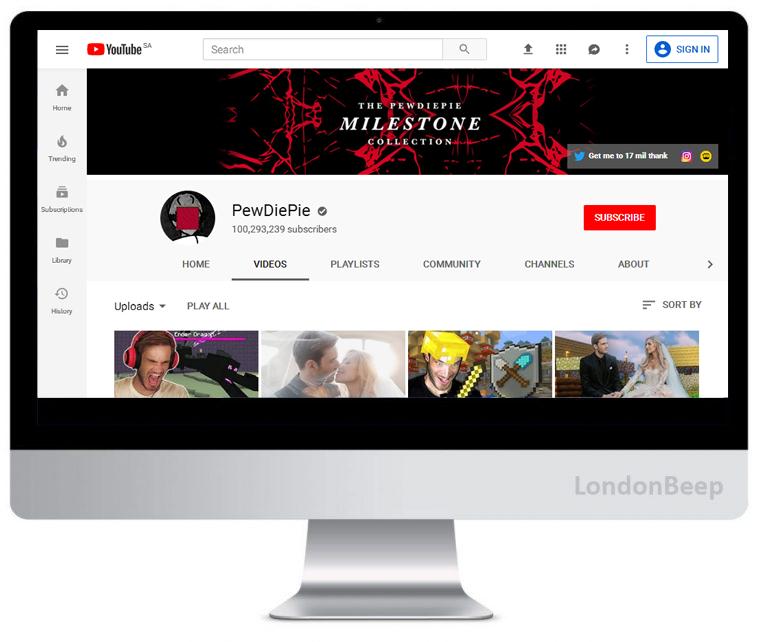 PewDiePie Youtube Channel UK