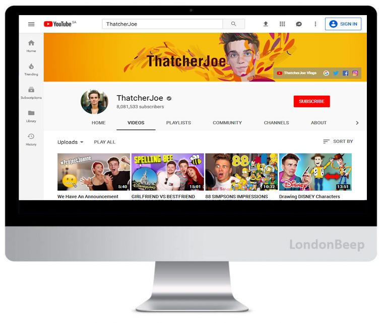Thatcher Joe Youtube Channel UK