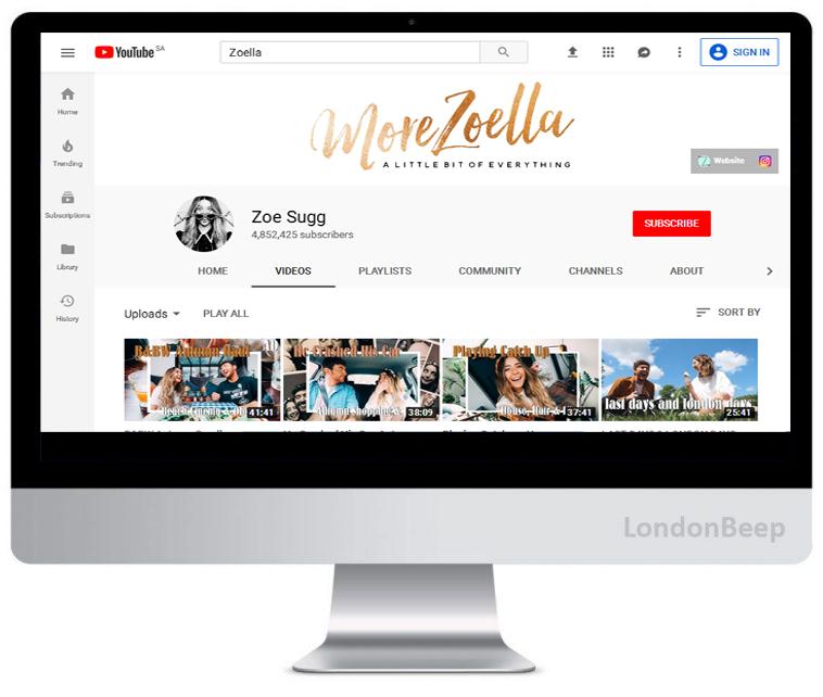 Zoe Sugg Youtube Channel UK
